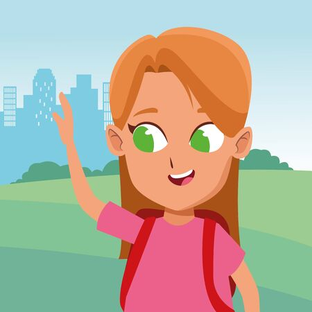 adorable cute young girl face blondie with green eyes happy childhood cartoon in the city park, nature and urban scenery ,vector illustration graphic design. 일러스트