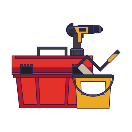 Construction tools toolbox and drill with paint bucket and rolling pin vector illustration graphic design Иллюстрация