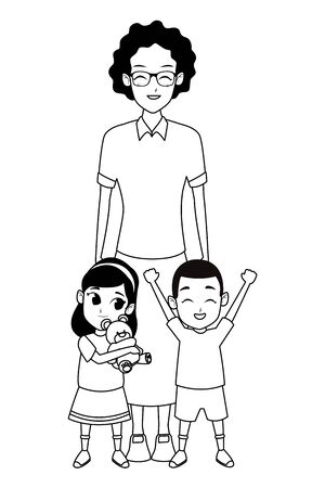 Family afro grandmother with boy and girl playing with teddy vector illustration graphic design Stock Illustratie