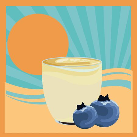 tropical fruit and smoothie drink with bluberries icon cartoon in flat sunny landscape vector illustration graphic design Çizim