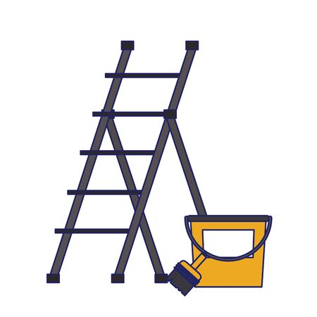 Construction tools ladle and paint brush with bucket vector illustration graphic design