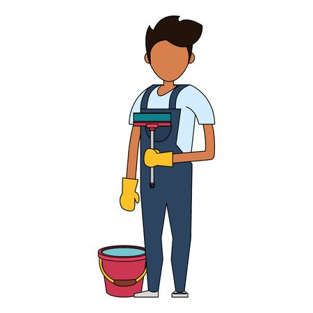 Cleaner worker man smiling with cleaning products and equipment vector illustration graphic design. Иллюстрация