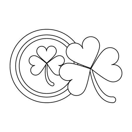 saint patricks day irish tradition golden coin with clover cartoon vector illustration graphic design Ilustrace