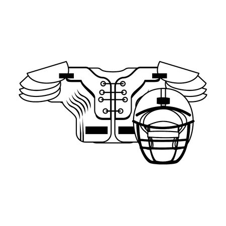 american football sport game helmet with shoulder pad cartoon vector illustration graphic design