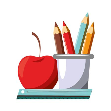 Back to school utensils pens in cup with apple and ruler cartoons vector illustration graphic design