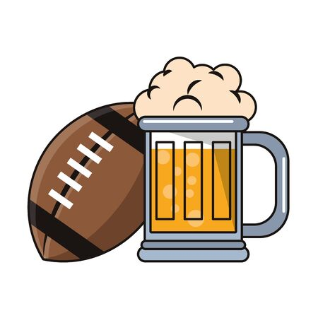 American football beer and ball cartoons isolated vector illustration graphic design