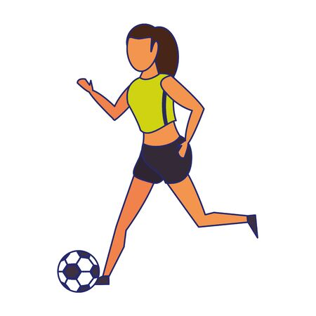 Woman playing with soccer ball isolated vector illustration graphic design