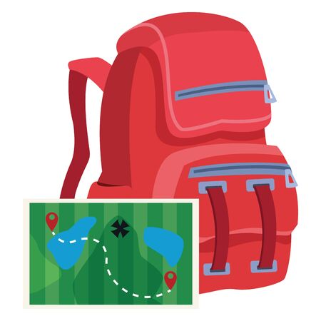 Travel backpack with adventure map ,vector illustration .graphic design. Иллюстрация
