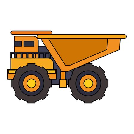 mining cargo truck vehicle machinery isolated sideview vector illustration graphic design