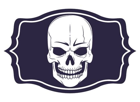 skull head with frame drawn in black and white tattoo icon vector illustration graphic design