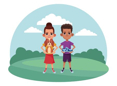 two young little kids girl carrying a dog and girl holding a sneaker avatar carton character in the grass with rural landscape vector illustration graphic design. Иллюстрация