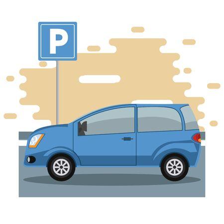 Car parked in lot with parking meter at city Ilustração
