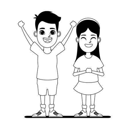 two children girl with bandana smiling and boy with hands up profile picture cartoon character portrait in black and white vector illustration graphic design
