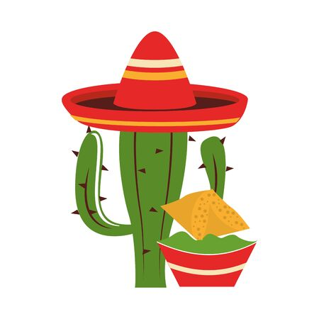 mexico culture and foods cartoons mariachi hat on cactus also guacamole plate on nachos vector illustration graphic design Иллюстрация
