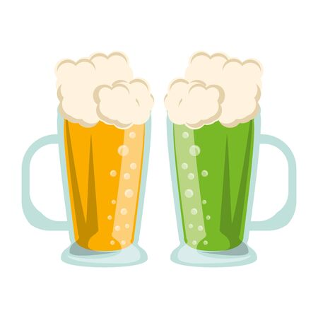 beer glasses fresh alcoholic drinks cartoon vector illustration graphic design Иллюстрация