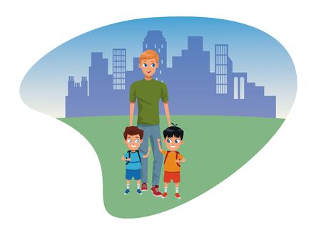 Family single father with kids holding school backpack in the city park scenery background ,vector illustration.