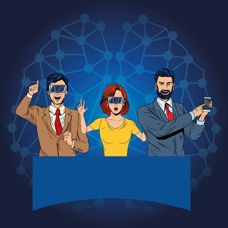 group of people with virtual reality headset and cellphone avatar cartoon character with neuronal conection background vector illustration graphic design