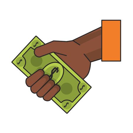 Hand with cash cartoon isolated vector illustration