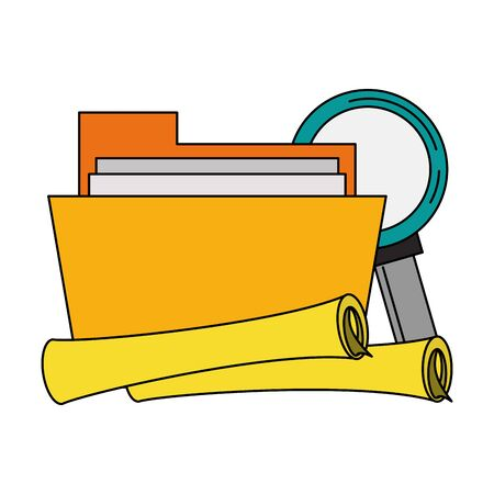 documents files system archives with magnifying glass looking for information cartoon vector illustration graphic design Stok Fotoğraf - 130074523