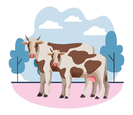 farm, animals and farmer two cow icon cartoon over the grass with trees and clouds vector illustration graphic design Çizim