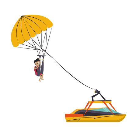 Water sport parasailing athlete with boat cartoon isolated vector illustration graphic design Ilustração
