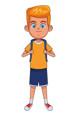 young little kid boy carrying a bag avatar carton character vector illustration graphic design Stok Fotoğraf - 130074583