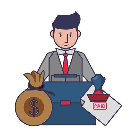 saving money business personal finance balance payment calculate elements with business man cartoon vector illustration graphic design Illusztráció