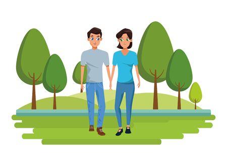 Young couple boyfriend and girlfriend smiiling and walking cartoon outdoors nature park with landscape background vector illustration graphic design