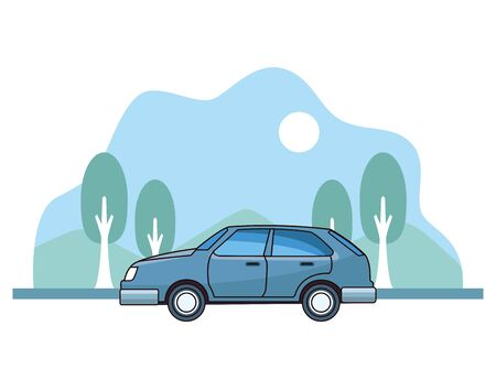 Classic coupe car vehicle sideview on nature landscape background ,vector illustration graphic design. Ilustração