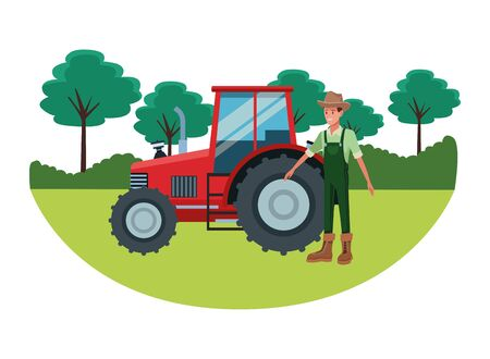 farm, animals and farmer man wearing hat and agriculture tractor avatar cartoon character over the grass with trees and shruberry vector illustration graphic design