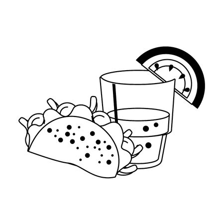 mexico culture and foods cartoons glass lemon cut on the edge also taco vector illustration graphic design