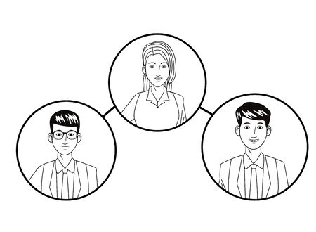 group of four business people afromerican with bun and glasses, man with glasses and woman with bun avatar cartoon character profile picture in round icon black and white vector illustration graphic design