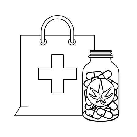 cannabis martihuana medical marijuana medicine sativa hemp pills bottle cartoon vector illustration graphic design  イラスト・ベクター素材