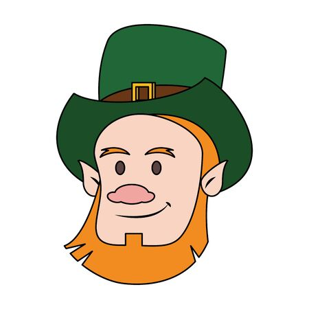 saint patricks day irish tradition green leprechaun face cartoon vector illustration graphic design 写真素材 - 130082510