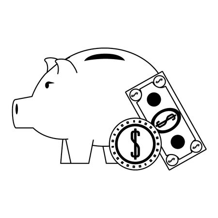 Money piggy with coin and billet symbols in black and white vector illustration Иллюстрация
