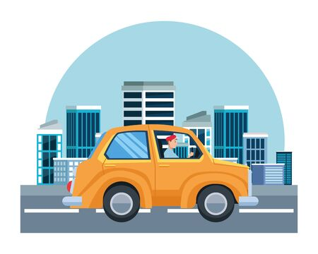 Man driving car vehicle sideview cartoon on the city, urban scenery background ,vector illustration graphic design.