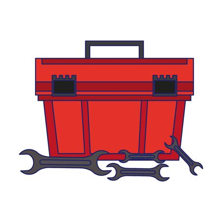 Toolbox and wrench repair equipment vector illustration graphic design