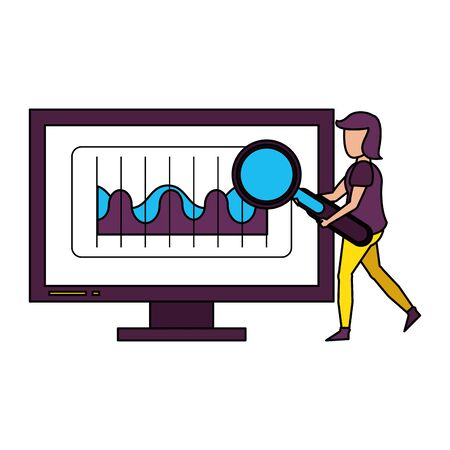 computer screen technology hardware user looking information in database graphics cartoon vector illustration graphic design