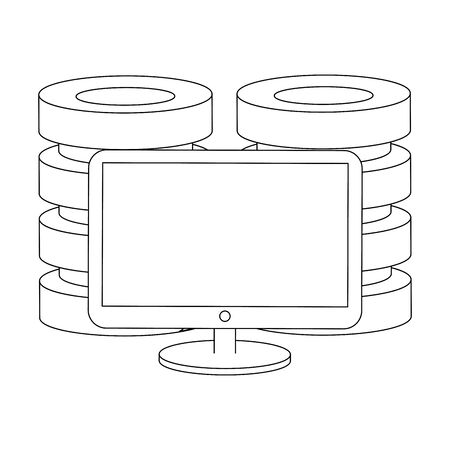 computer screen technology hardware with database towers cartoon vector illustration graphic design