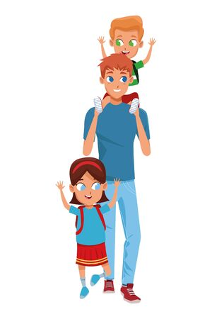 Family single father with son and daughter with backpacks cartoon isolated vector illustration graphic design Stock Illustratie