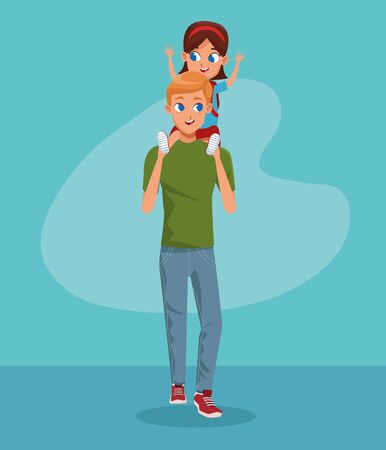 the first day of class and father and daughter in backgorund blue vector illustration graphic design