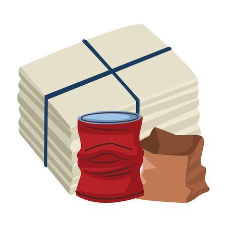 crumpled aluminum soda can, paper bag and paper pile moored icon cartoon vector illustration graphic design Archivio Fotografico - 131126904