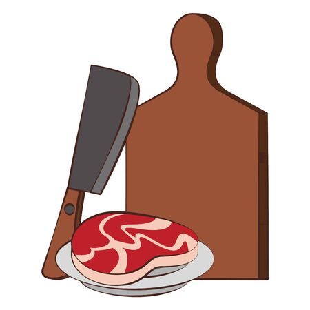 Barbecue food steak in axe with table vector illustration graphic design Иллюстрация