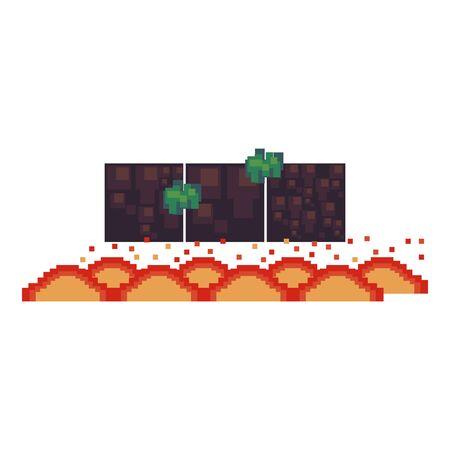 videogame pixelated retro art digital entertainment, lava obstacle cartoon vector illustration graphic design