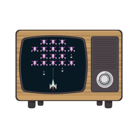 Retro videogame space on television screen vector illustration graphic design