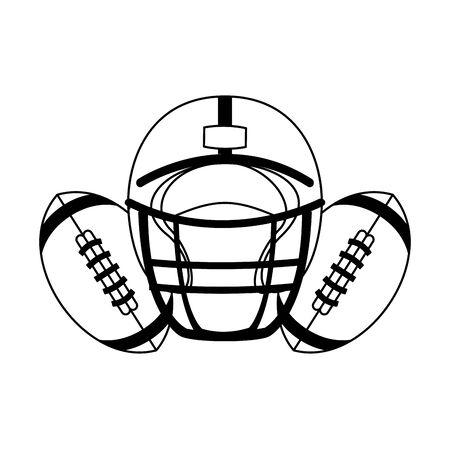 american football sport game helmet with balls cartoon vector illustration graphic design Ilustração