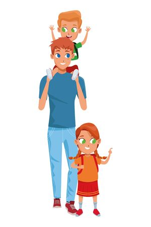 Family single father with kid holding school backpack vector illustration graphic design 版權商用圖片 - 130073755