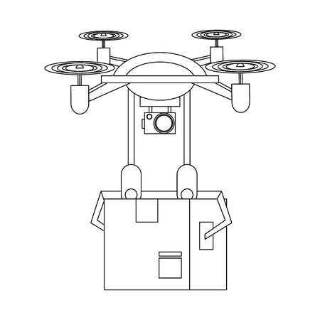 air drone remote control technology device delivery and logistic process with cardboard box cartoon vector illustration graphic design Ilustração