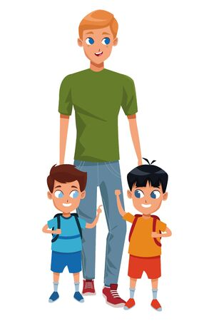 Family single father with kids holding school backpack vector illustration graphic design 版權商用圖片 - 130073756