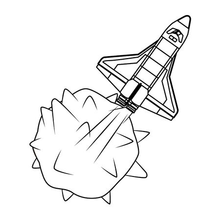 space exploration space shuttle and planet in black and white icon cartoon vector illustration graphic design Stok Fotoğraf - 130074572